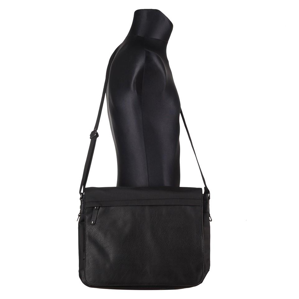 5c3473885307b Bever s - Męska duża torba na ramię czarna A4 (114-5)