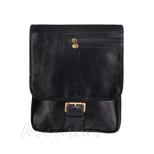 26caf07c9556d Florence - Męska mała skórzana torba na ramię czarna (T279)