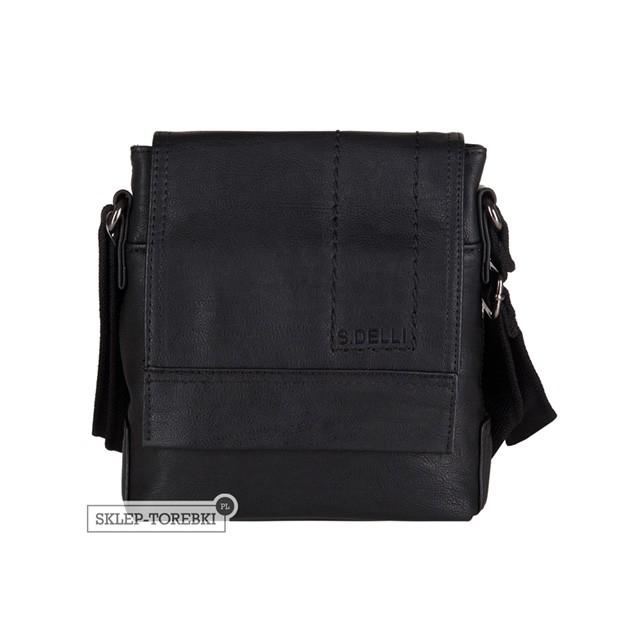 106e000659c8e S.Delli - Męska mała torba listonoszka na ramię czarna A4 (SD060-3)