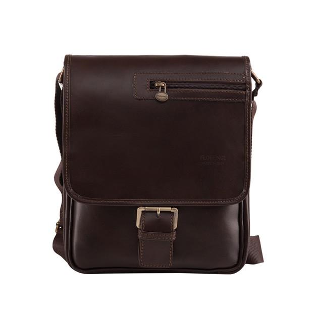 70d01dd3b6b7a Florence - Męska mała skórzana torba na ramię ciemny brąz (T280)