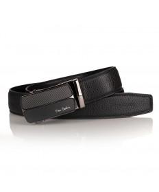 Pierre Cardin - elegancki pasek skórzany czarny (cintura 524 hy07)