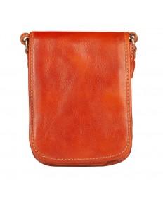 Włoska mała skórzana torba / saszetka na ramię dwukomorowa brązowa (T475)